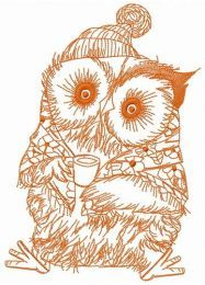 Granny owl with coffee embroidery design