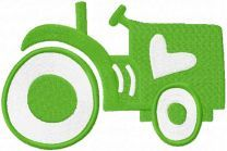 Green tractor embroidery design