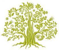 Green tree machine embroidery design 3