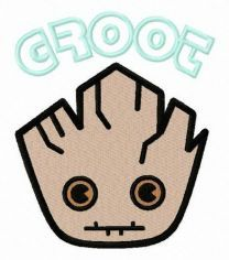 Groot's face embroidery design