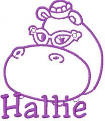 Hallie Hippo embroidery design 11