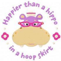 Hallie Hippo embroidery design