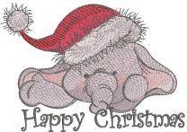 Happy Christmas elephant embroidery design