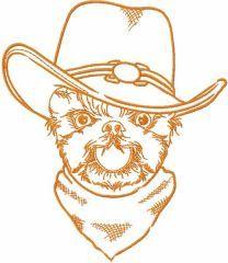 Happy dog cowboy embroidery design