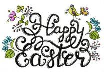 Happy Easter phrase embroidery design