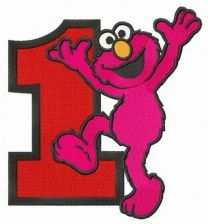 Happy Elmo number 1 embroidery design