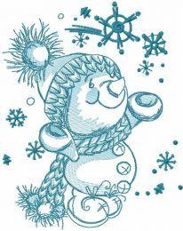 Happy snowman sketch embroidery design