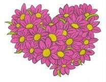 Heart from daisies embroidery design