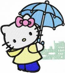 Hello Kitty Rainy Day embroidery design