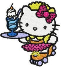 Hello Kitty Waitress embroidery design