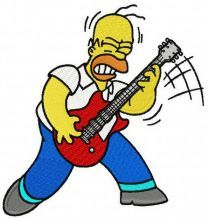 Homer rock star embroidery design
