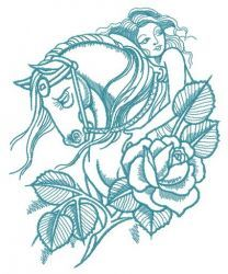 Horse with naked woman embroidery design