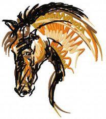 Horse mascot machine embroidery design