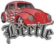 Hot wheels style beetle embroidery design