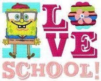 I love school machine embroidery design