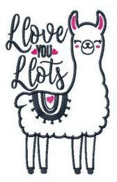 I love you lots llama embroidery design