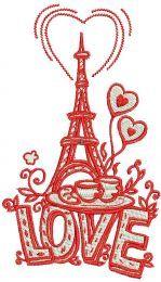 I love you Paris machine embroidery design