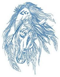 Indian's horse sleeping embroidery design