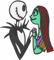 Jack and Sally together forever embroidery design