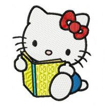 Hello Kitty Reading Book embroidery design