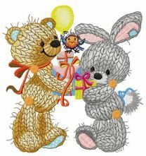 Knitted bear and bunny