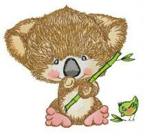 Koala and birdie embroidery design