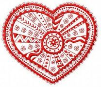 Lacy heart machine embroidery design