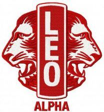 Leo Club logo machine embroidery design