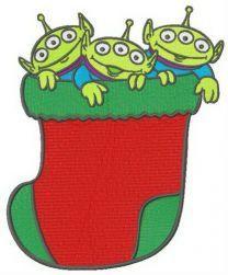 Little Green Men in Christmas sock