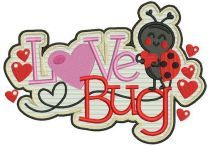 Love bug badge embroidery design