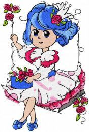 Malvina swing in garden embroidery design