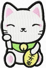 Maneki Neko clever kitty embroidery design