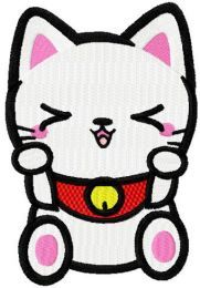 Maneki Neko cute kitty machine embroidery design
