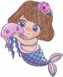 Mermaid with medusa embroidery design