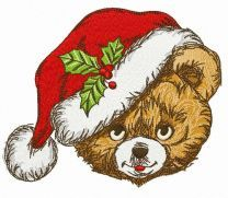Merry Xmas teddy bear embroidery design