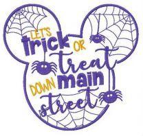 Mickey Let's trick ot treat down main street