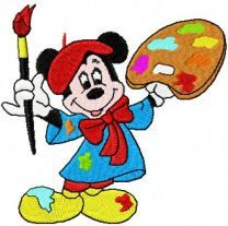 Mickey Mouse painter machine embroidery design
