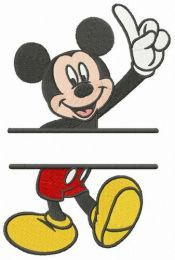 Mickey number one monogram embroidery design