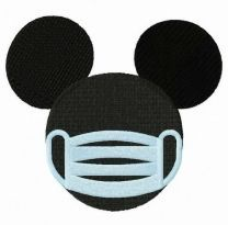 Mickey with surgical mask embroidery design