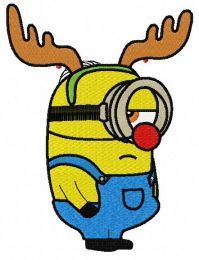 Minion in deer costume machine embroidery design