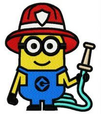 Minion the fireman embroidery design