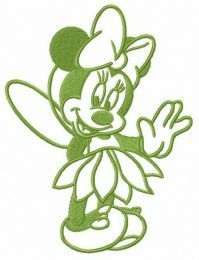 Minnie in fairy costume embroidery design