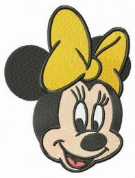 Minnie with yellow bow embroidery design