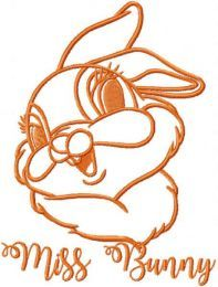 Miss Bunny one colored embroidery design