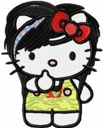 Modern Hello Kitty embroidery design