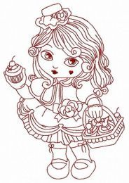 Modern Little Red Riding Hood 3 embroidery design