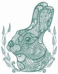 Mosaic bunny embroidery design 3
