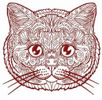 Mosaic cat embroidery design 11