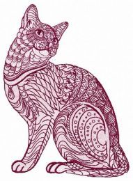 Mosaic cat embroidery design 4