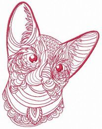 Mosaic cat embroidery design 9
